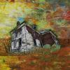 "Old Brick Farm House cattim_564_18 20 1/2"" x 22"" (54.5cm x 55.5cm) On tour with Fibrations 2018 in Northern Ontario"