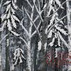 "Three Birches in Winter Forest cattim_573_18 21 1/2"" x 25 1/2"" (54cm x 64.5cm) SOLD"