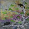 "Raven with a Purple Berry cattim_605_19 27"" x 27"""